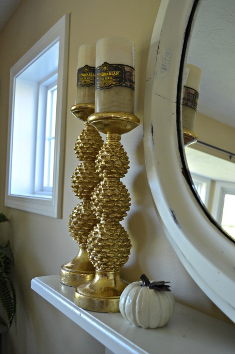 candle sticks gold mantel web