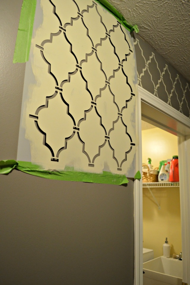 Process of stenciling mudroom eb