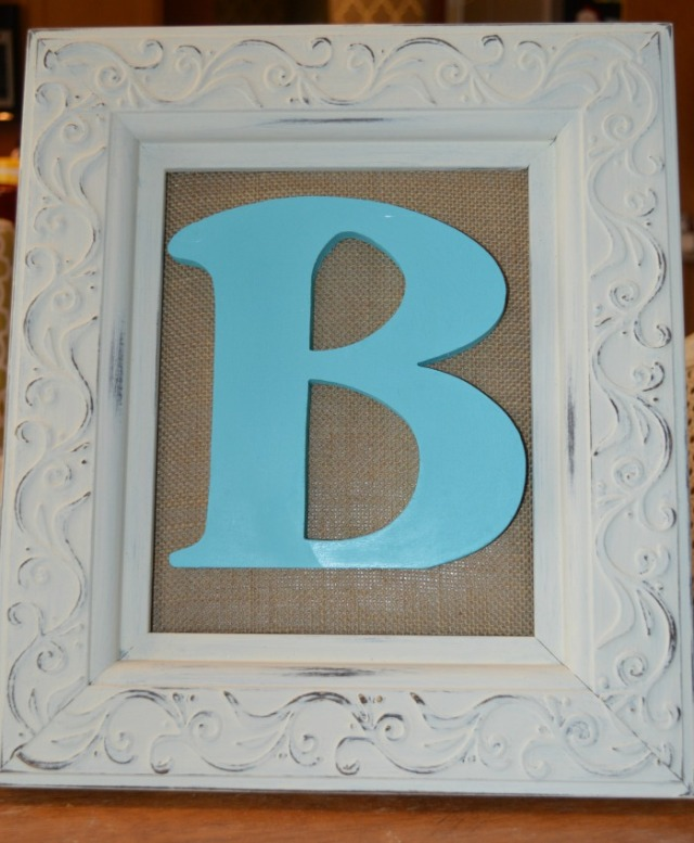 The finished product b letter frame