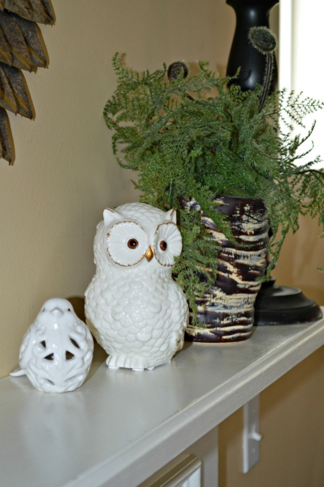 Owl and Bird on Mantel - gold mirror web