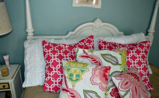 Close-up of the pillows and shams