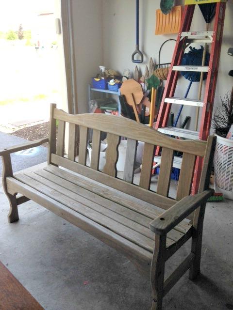 unpainted bench